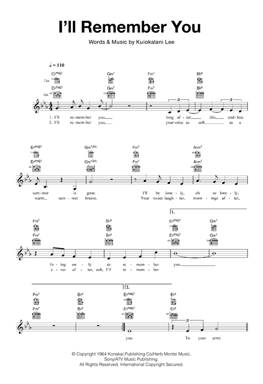 I\'ll Remember You sheet music by Kuiokalani Lee (Ukulele – 120040)