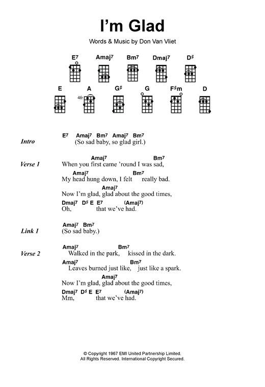 Tablature guitare I'm Glad de Captain Beefheart - Ukulele