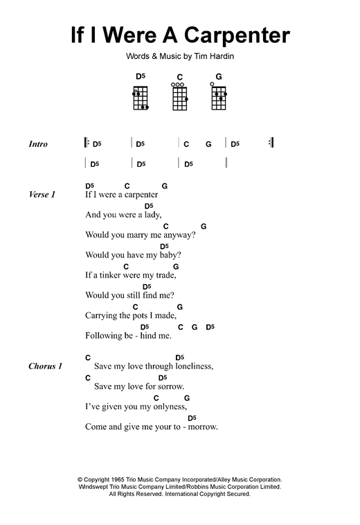 Tablature guitare If I Were A Carpenter de Bobby Darin - Ukulele