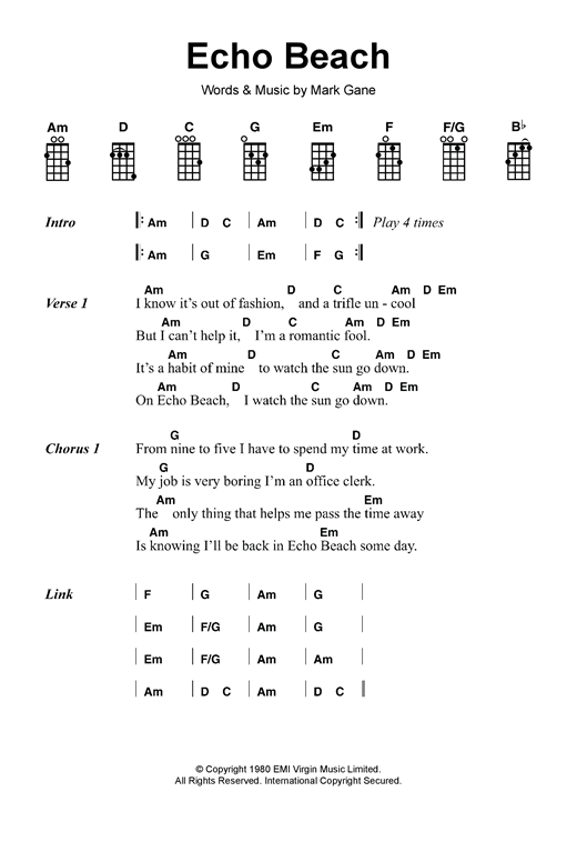 Tablature guitare Echo Beach de Martha & The Muffins - Ukulele