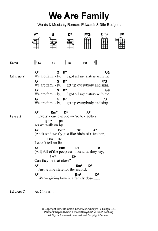 Tablature guitare We Are Family de Sister Sledge - Ukulele