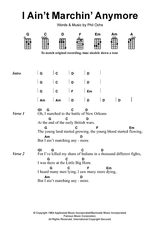 Tablature guitare I Ain't Marchin' Anymore de Phil Ochs - Ukulele