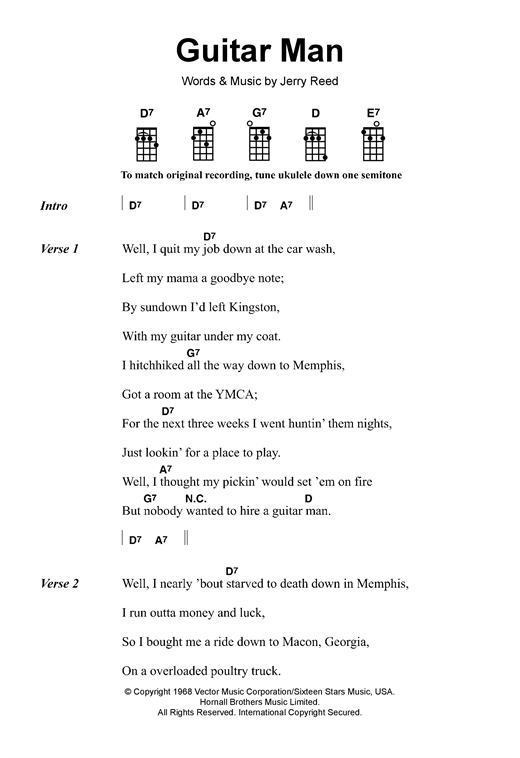 Tablature guitare Guitar Man de Elvis Presley - Ukulele