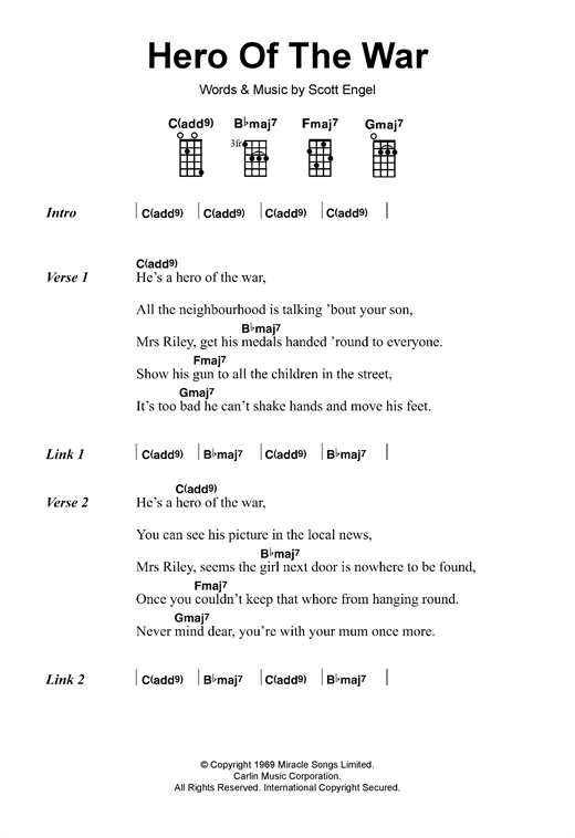 Tablature guitare Hero Of The War de Rise Against - Ukulele