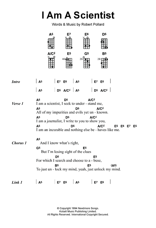 Ukulele ukulele tabs the scientist : I Am A Scientist sheet music by The Dandy Warhols (Ukulele – 120072)