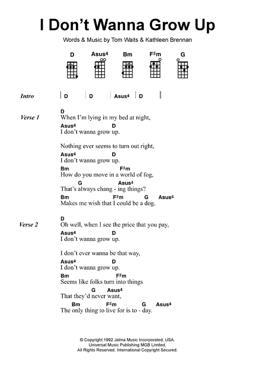 I Don\'t Wanna Grow Up sheet music by Tom Waits (Ukulele – 120073)