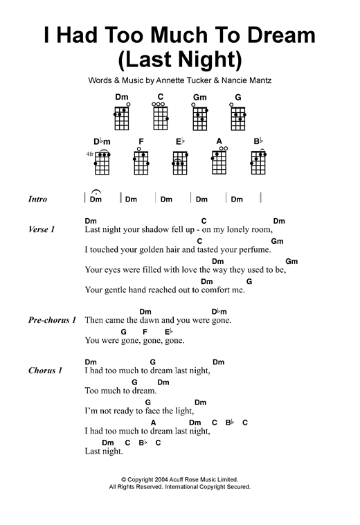 Tablature guitare I Had Too Much To Dream (Last Night) de The Electric Prunes - Ukulele