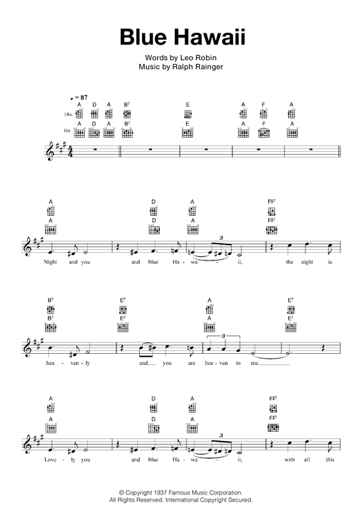 Blue Hawaii Sheet Music