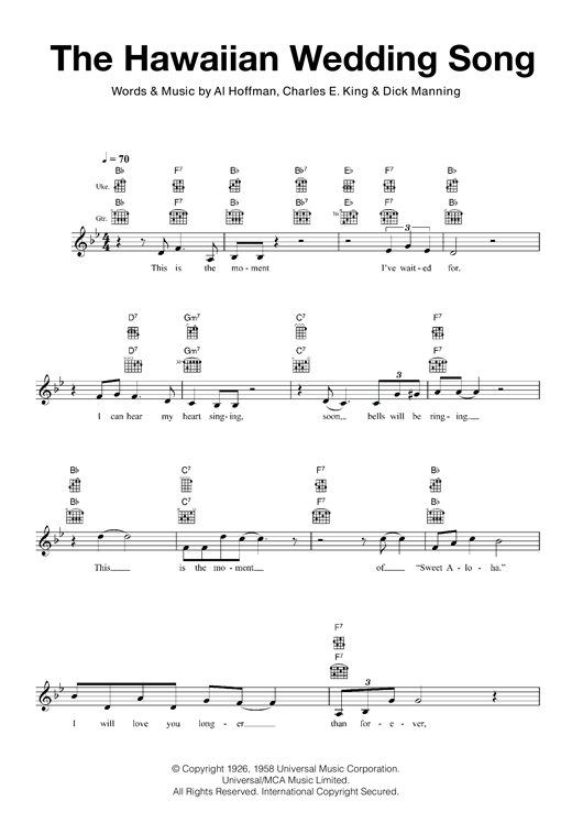 The Hawaiian Wedding Song Sheet Music