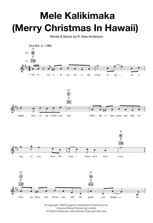 Mele Kalikimaka (Merry Christmas In Hawaii) Sheet Music