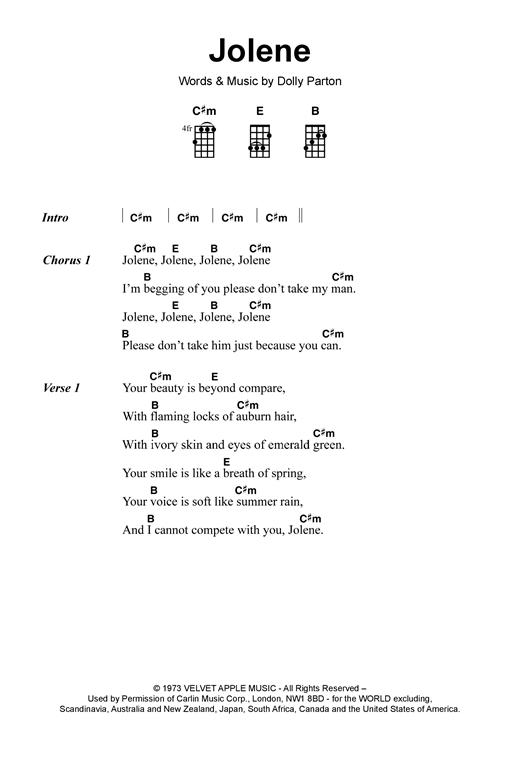 Tablature guitare Jolene de Dolly Parton - Ukulele