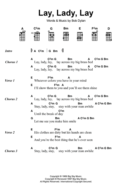 Tablature guitare Lay, Lady, Lay de Bob Dylan - Autre