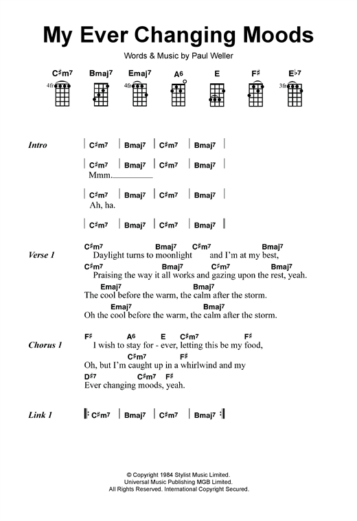 Tablature guitare My Ever Changing Moods de The Style Council - Ukulele
