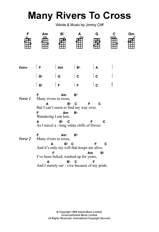 Many Rivers To Cross sheet music by Jimmy Cliff (Ukulele – 120089)