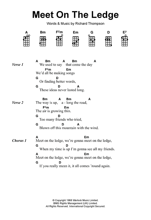 Tablature guitare Meet On The Ledge de Fairport Convention - Ukulele