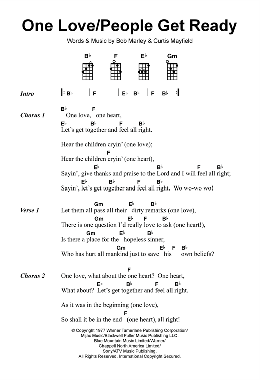 Tablature guitare One Love/People Get Ready de Bob Marley - Ukulele