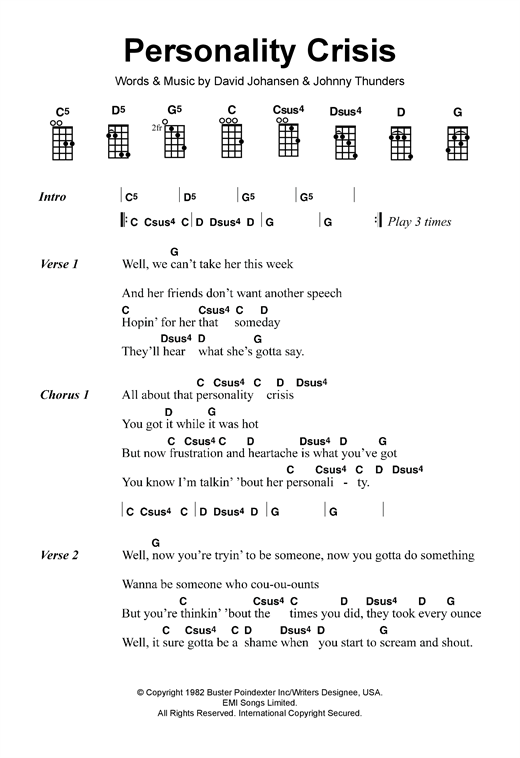 Tablature guitare Personality Crisis de The New York Dolls - Ukulele
