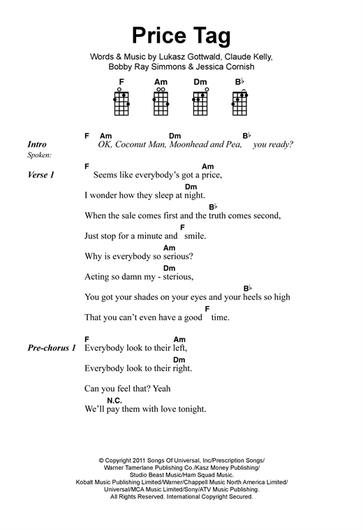Tablature guitare Price Tag de Jessie J - Ukulele