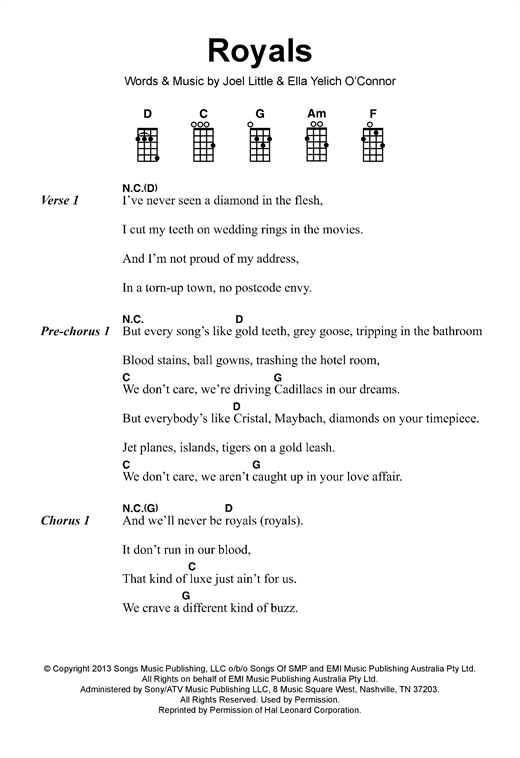 Tablature guitare Royals de Lorde - Ukulele