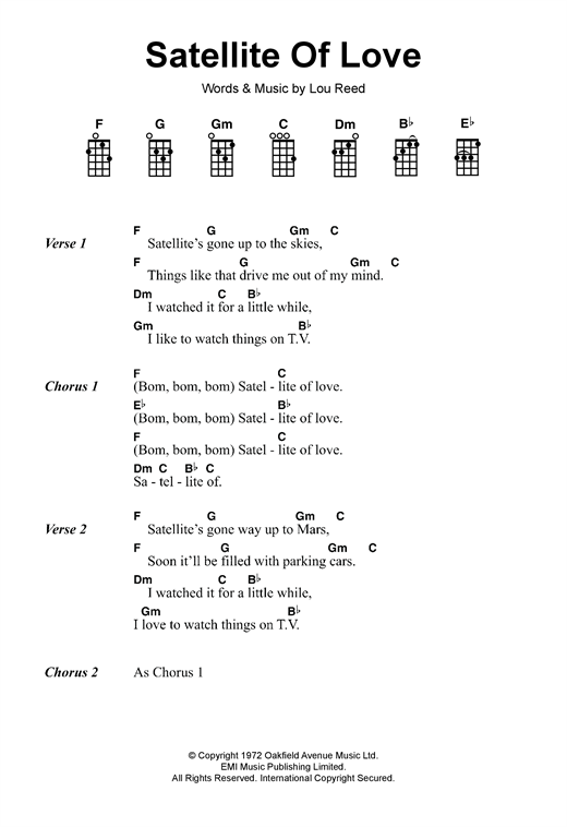 Tablature guitare Satellite Of Love de Lou Reed - Ukulele