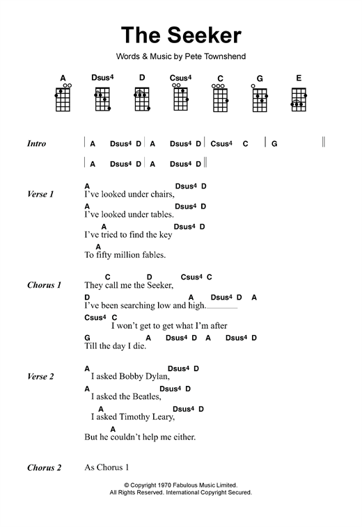 Tablature guitare The Seeker de The Who - Ukulele