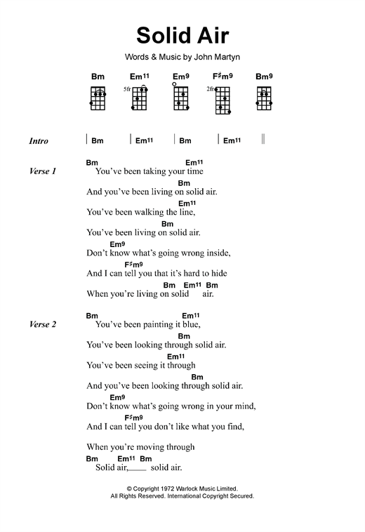 Tablature guitare Solid Air de John Martyn - Ukulele