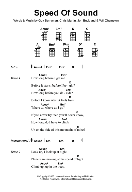 Tablature guitare Speed Of Sound de Coldplay - Ukulele