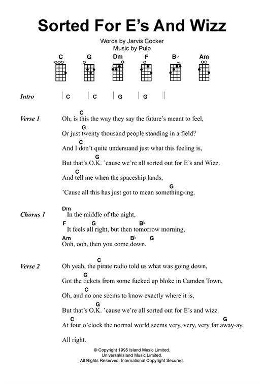 Tablature guitare Sorted For E's And Wizz de Pulp - Ukulele