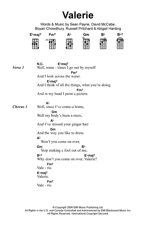 Tablature guitare Valerie de Amy Winehouse - Ukulele