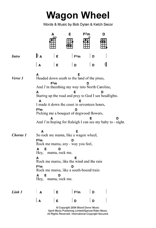 Wagon Wheel sheet music by Old Crow Medicine Show (Ukulele u2013 120110)