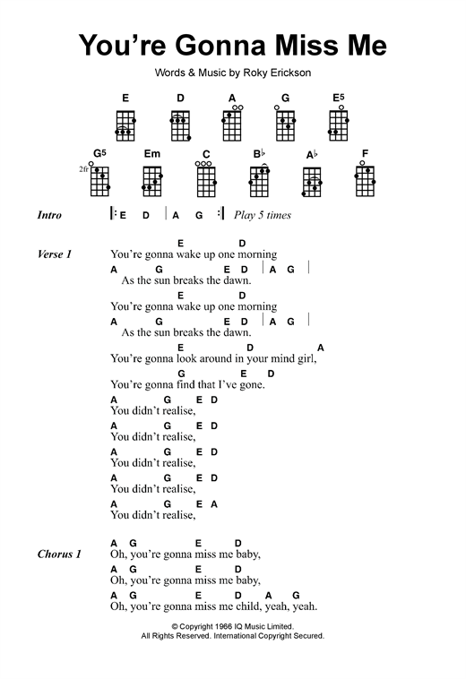 Tablature guitare You're Gonna Miss Me de The Thirteenth Floor Elevators - Ukulele