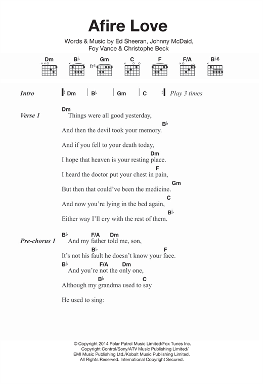 Afire Love Sheet Music