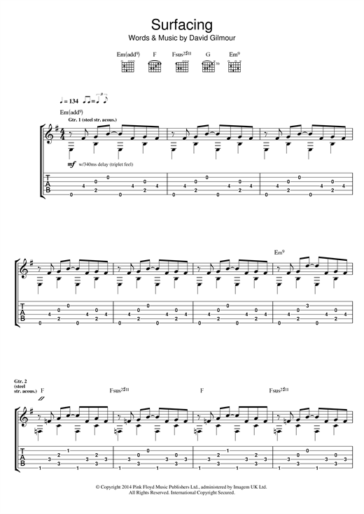 Tablature guitare Surfacing de Pink Floyd - Tablature Guitare