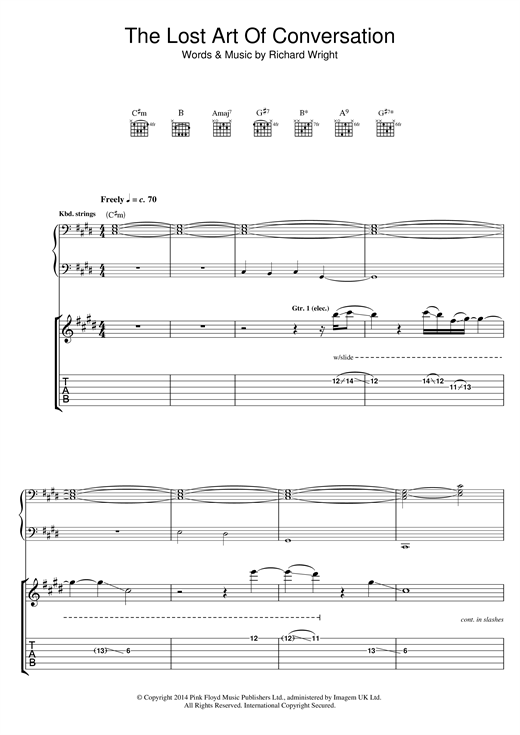 Tablature guitare The Lost Art Of Conversation de Pink Floyd - Tablature Guitare