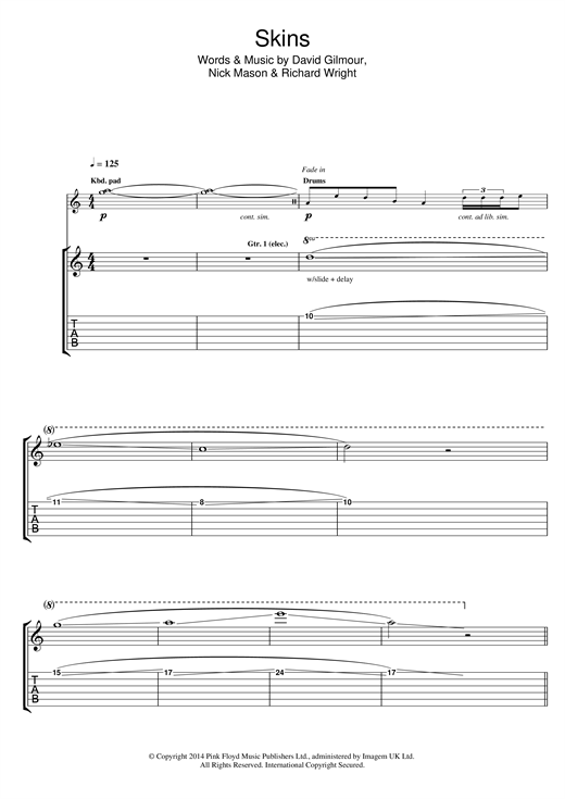 Tablature guitare Skins de Pink Floyd - Tablature Guitare