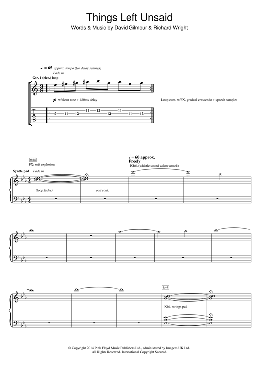 Tablature guitare Things Left Unsaid de Pink Floyd - Tablature Guitare