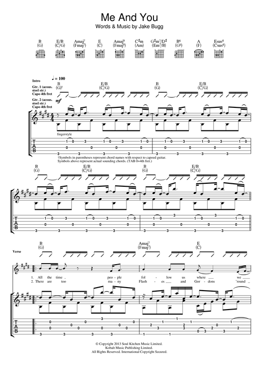 Me And You Sheet Music
