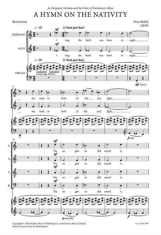 Partition chorale A Hymn On The Nativity de Nico Muhly - SATB