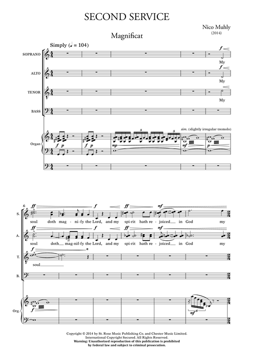 Partition chorale Second Service de Nico Muhly - SATB