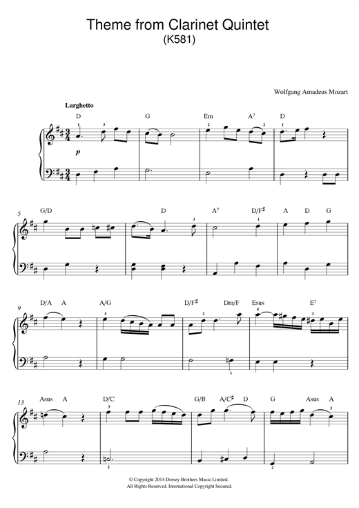 Partition piano Theme From Clarinet Quintet, K581 de Wolfgang Amadeus Mozart - Piano Facile