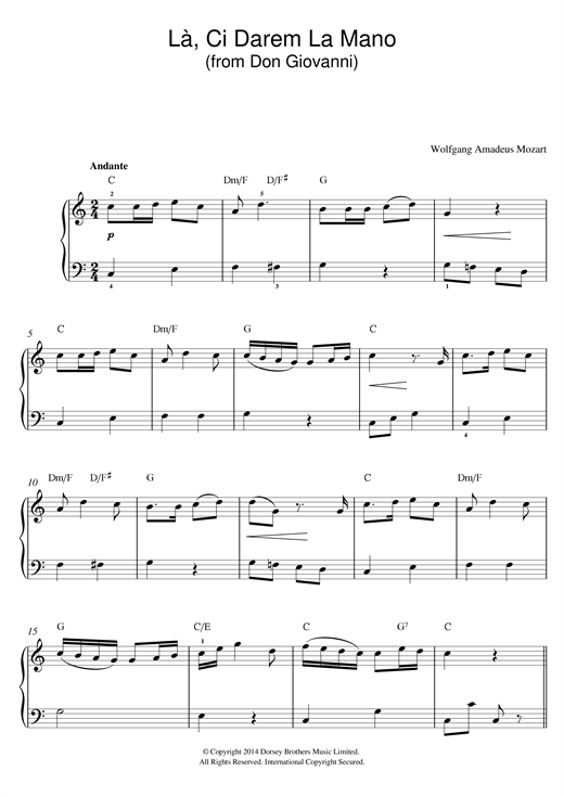 La, Ci Darem La Mano (from Don Giovanni) Sheet Music