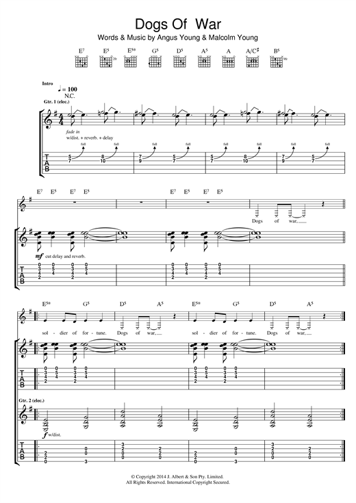 Dogs Of War Sheet Music