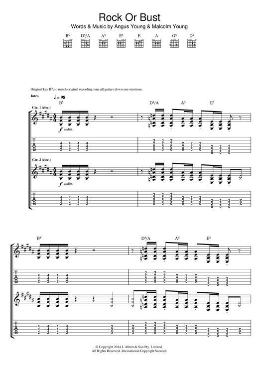 Rock Or Bust Sheet Music