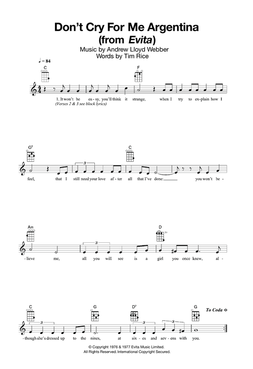 Tablature guitare Don't Cry For Me Argentina (from Evita) de Madonna - Ukulele