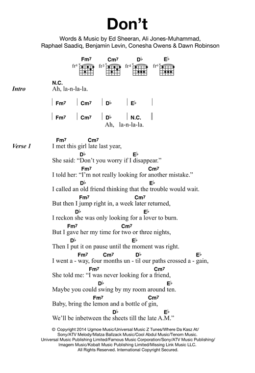Don\'t sheet music by Ed Sheeran (Lyrics & Chords – 120217)