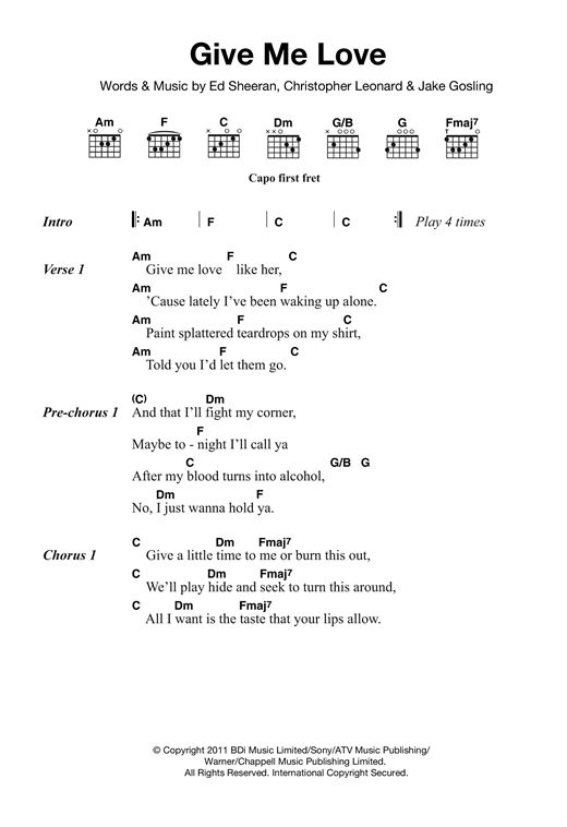 Give Me Love sheet music by Ed Sheeran (Lyrics & Chords – 120221)