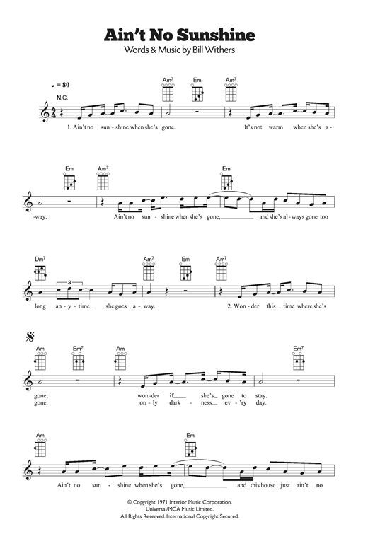 Tablature guitare Ain't No Sunshine de Bill Withers - Ukulele