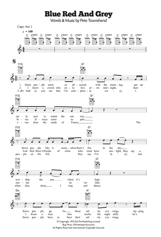 Tablature guitare Blue, Red and Grey de The Who - Ukulele