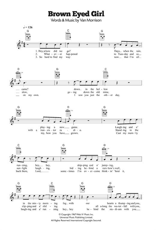 Ukulele ukulele tabs van morrison : Brown Eyed Girl sheet music by Van Morrison (Ukulele – 120242)