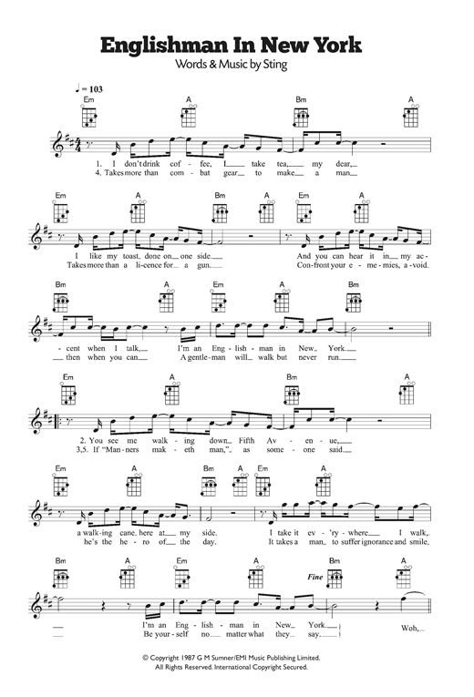 an englishman in new york Print and download an englishman in new york sheet music by sting sheet music arranged for piano/vocal/guitar in b minor (transposable) sku: mn0064227.